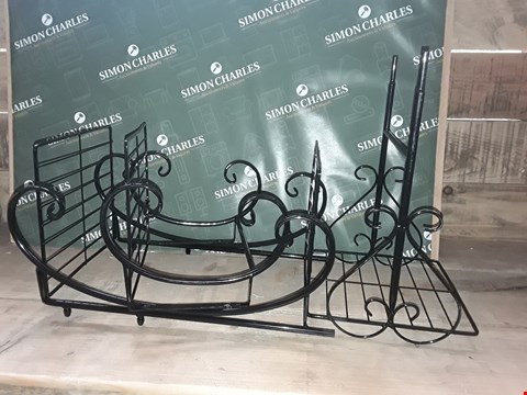 Lot 7144 BOXED UNASSEMBLED DESIGNER BLACK METAL FLOWER PLANT POT STAND DISPLAY