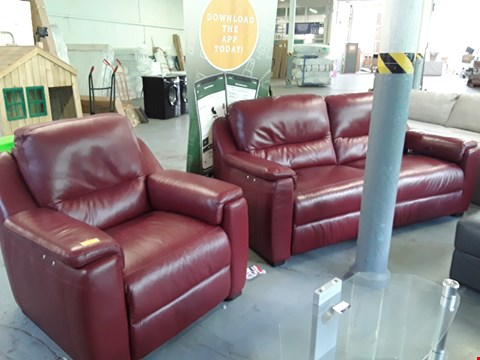 Lot 49 QUALITY DESIGNER ITALIAN AVOLA OXBLOOD LEATHER POWER RECLINING 3 SEATER SOFA AND ELECTRIC RECLINING ARMCHAIR