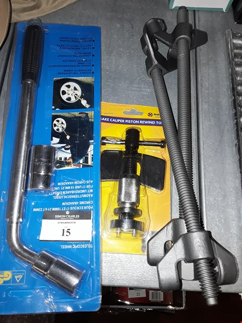 Lot 15 THREE TOOLS, PAIR SPRING COMPRESSORS, TELESCOPIC WHEEL BRACE & BRAKE CALIPER REWIND TOOL.