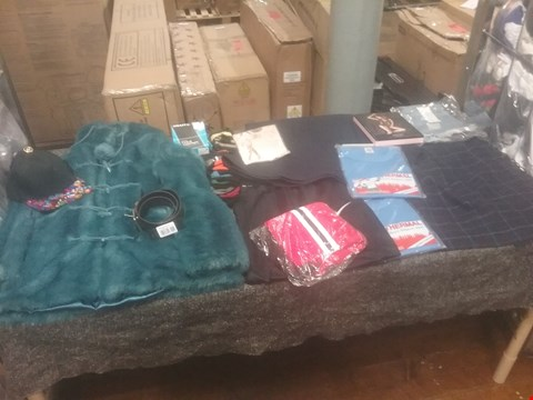 Lot 1023 CAGE OF APPROXIMATELY 395 ASSORTED ITEMS OF CLOTHING TO INCLUDE FAUX FUR TOPSHOP LADIES COAT, THERMAL SHORT SLEEVE VEST AND A 5 PACK OF SOCKS
