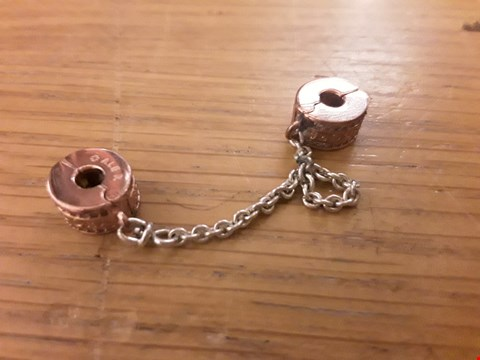 Lot 6143 PANDORA ROSE GOLD FINE CHARM CLIPS WITH CHAIN