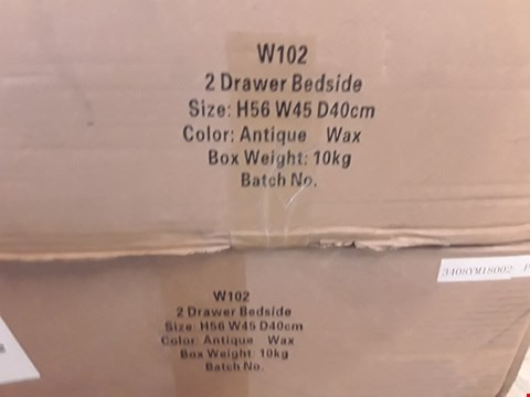 Lot 81 LOT OF 2 BOXED ANTIQUE WAX FINISH 2 DRAWER BEDSIDE CABINETS