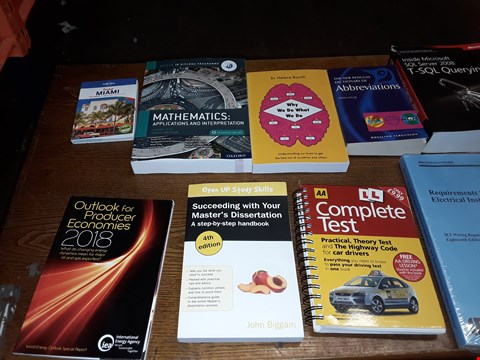 Lot 158 LOT OF APPROXIMATELY 23 ASSORTED BOOKS TO INCLUDE MATHERMATICS APPLICARIONS AND INTERPRETATIONS, DR HELENA BOSCHI WHY WE DO WHAT WE DO AND CONCENTRATE EMPLOYMENT LAW SIXTH EDDITION ECT