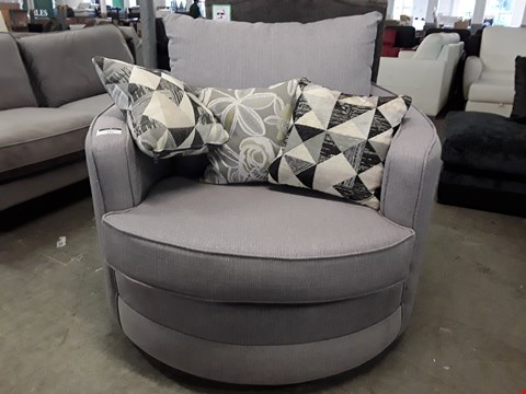 Lot 121 DESIGNER GREY FABRIC SWIVEL SNUGGLE CHAIR