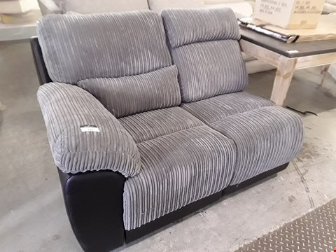 Lot 132 BLACK FAUX LEATHER & GREY JUMBO CHORD MANUAL RECLINING TWO SEATER SECTION