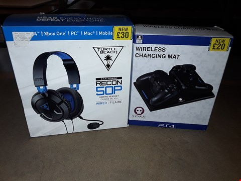 Lot 2201 LOT OF 2 ASSORTED BOXED ITEMS TO INCLUDE EAR FORCE RECON 50P WIRED GAMING HEADPHONES , WIRELESS CHARGING MAT FOR PS4