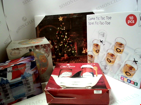 Lot 5049 LOT OF A SIGNIFICANT QUANTITY OF ASSORTED ITEMS TO INCLUDE FESTIVE ART, BATH SETS, MONEY BOXES ETC