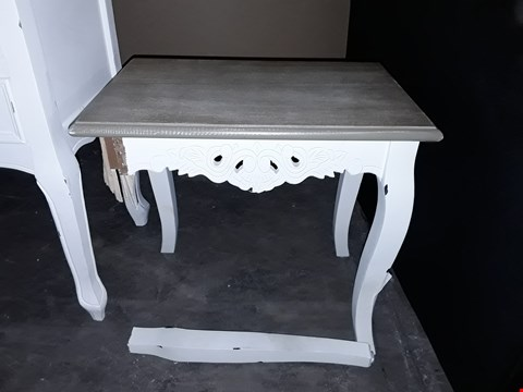 Lot 1036 DESIGNER WHITE PAINTED WOOD AND OAK EFFECT SMALL SIDE TABLE