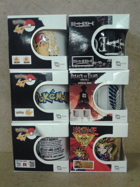 Lot 473 6 BRAND NEW ASSORTED MUGS TO INCLUDE POKEMON , DEATHNOTE , ATTACK ON TITAN AND YU-GI-OH!