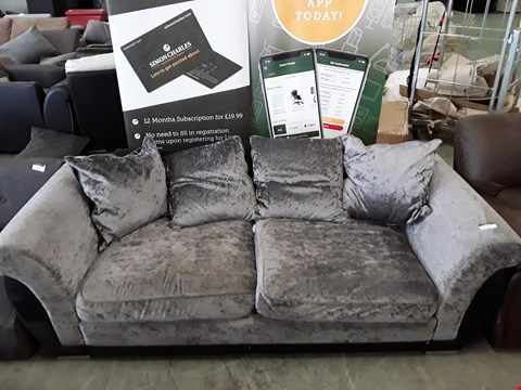 Lot 2 DESIGNER GREY CRUSHED VELVET 3 SEATER SOFA WITH CUSHIONS