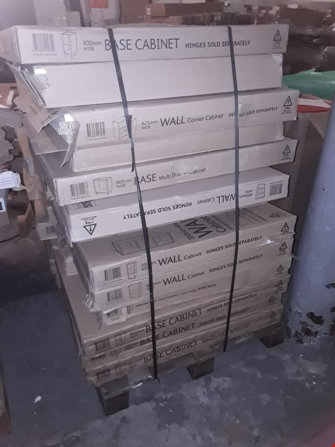 Lot 9225 PALLET OF APPROXIMATELY 28 ASSORTED FLAT PACK KITCHEN UNITS & FITTINGS. RRP £922.00