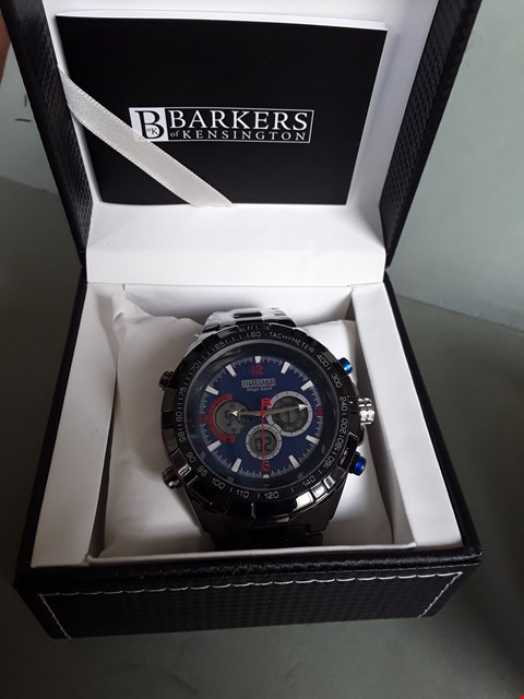 Lot 96 BRAND NEW BOXED DESIGNER BARKERS OF KENSINGTON MEGA SPORT CHRONOGRAPH BLUE FACED GENTS WRIST WATCH