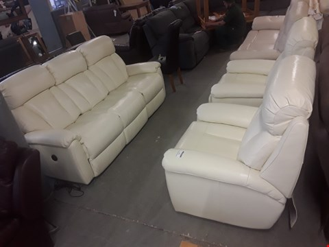 Lot 652 QUALITY MADE GEORGIA CREAM LEATHER THREE SEATER POWER RECLINING AND TWO POWER RECLINING ARMCHAIRS  RRP £7119.97