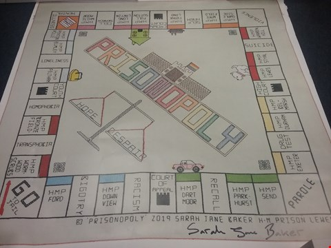 Lot 3 PRISONOPOLY DOUBLE SIDED POSTER SIGNED BY SARAH JANE BAKER