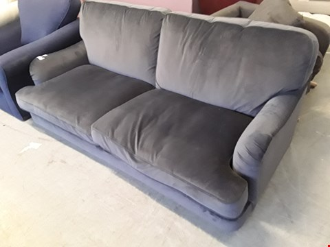 Lot 30 QUALITY BRITISH DESIGNER CHARCOAL PLUSH VELVET ROCHESTER 3 SEATER SOFA