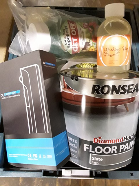 Lot 45 BOX OF ASSORTED ITEMS TO INCLUDE SMART HOME WIRELESS DOORBRLL, CAT & DOG REPELLENT, WASHING UP LIQUID, DIAMONDHARD FLOOR PAINT  ETC (BOX NOT INCLUDED)
