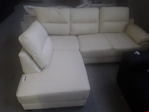 Lot 50 DESIGNER CREAM LEATHER FACED CORNER SOFA