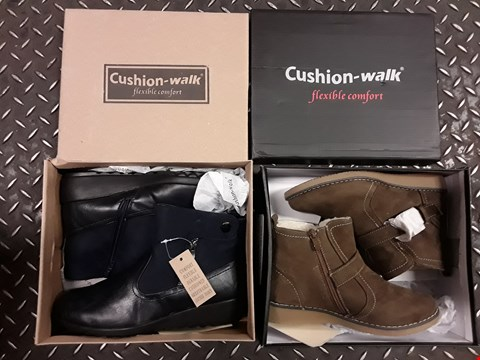 Lot 2431 BOX OF APPROXIMATELY 8 SHOE BOXES (WITH PAIRS OF SHOES IN EACH BOX) TO INCLUDE CUSHION WALK COMFORT ONE TOUCH ANLKE CLO, CUSHION WALK SUEDETTE ANKLE BUCKLE BOOT, ECT
