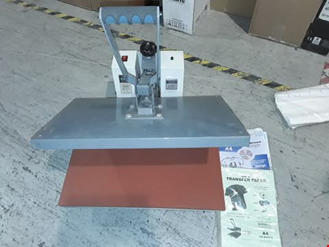 Lot 12273 UNBOXED HEAT TRANSFER PRESS WITH TRANSFER PAPER