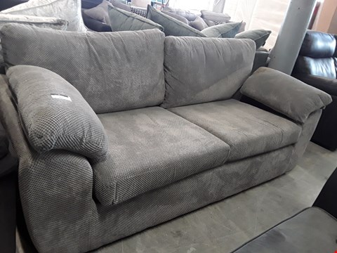 Lot 99 DESIGNER GREY FABRIC THREE SEATER SOFA