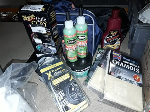 Lot 3034 ASSORTED CAR CARE ITEMS, INCLUDING, 2 × CLEANING KITS, 2 × CHAMOIS, 2 × SLIME TYRE SEALANTS, MEGUIARS QUIK CLAY, ISOPON FILLER,