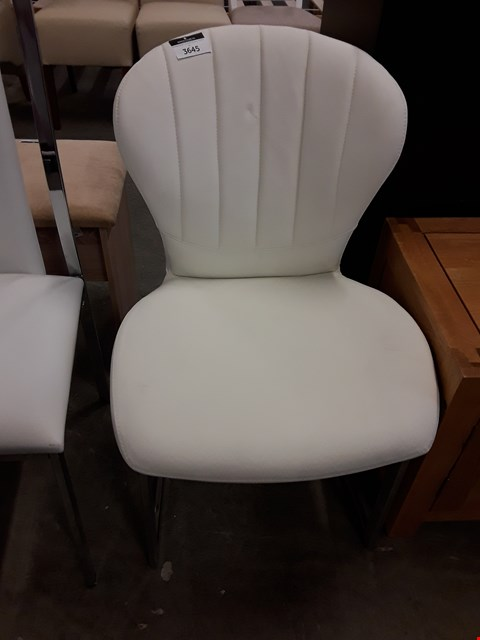 Lot 12166 DESIGNER WHITE FAUX LEATHER DINING CHAIR