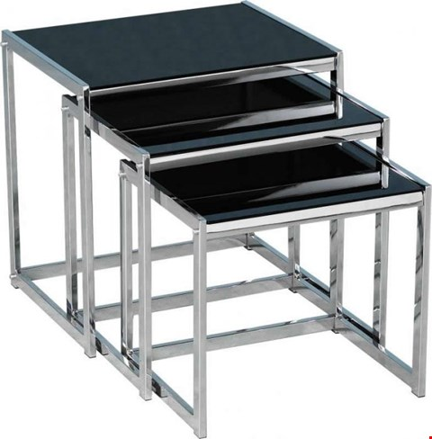 Lot 3144 HANLEY BLACK AND CHROME NEST OF TABLES ( 1BOX)