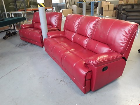 Lot 300 DESIGNER RED FAUX LEATHER MANUAL RECLINING 2 AND 3 SEATER SOFAS