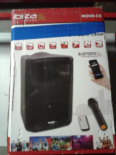 Lot 8457 IBIZA SOUND MOV8-CD STAND ALONE PORTABLE SOUND SYSTEM WITH BLUETOOTH