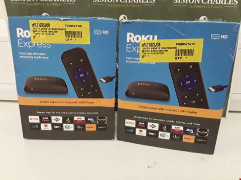 Lot 237 TWO BOXED ROKU EXPRESS HD STREAMING PLAYER