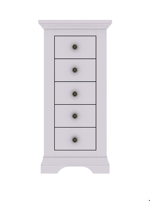 Lot 7106 BRAND NEW BOXED NORMANDY GREY 5-DRAWER NARROW CHEST (1 BOX) RRP £249.00
