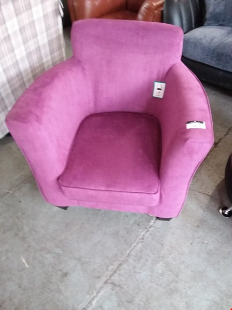 Lot 48 DESIGNER PLUM FABRIC EASY CHAIR