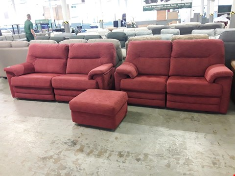 Lot 12525 QUALITY BRITISH MADE, HARDWOOD FRAMED RED WEAVE FABRIC POWER RECLINING 2 AND 3 SEATER SOFAS WITH ACCOMPANYING STORAGE FOOTSTOOL