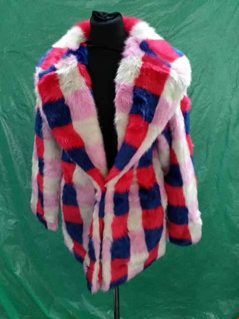 Lot 4133 FAUX REAL MULTICOLOURED FAUX FUR CHECKERED COAT - SIZE MEDIUM