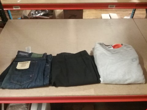 Lot 1325 LOT OF 8 BOXES CONTAINING APPROXIMATLEY 158 ASSORTED CLOTHING ITEMS TO INCLUDE TOMMY HILFIGER MADISON COMFORT FIT JEANS, SKOPES CLASSIC FIT SUIT TROUSER AND ALPHA GREY JUMPER