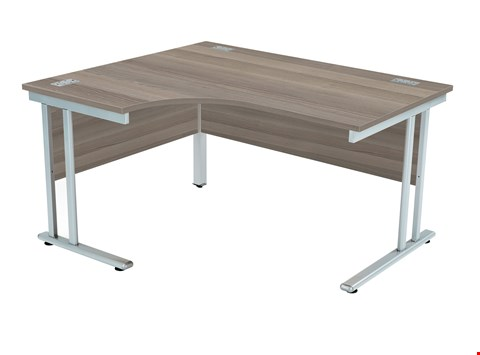 Lot 43 BRAND NEW BOXED FRACTION 2 LEFT HAND 140 CORE WORKSTATION - GREY OAK WITH SILVER FRAME RRP £355.00
