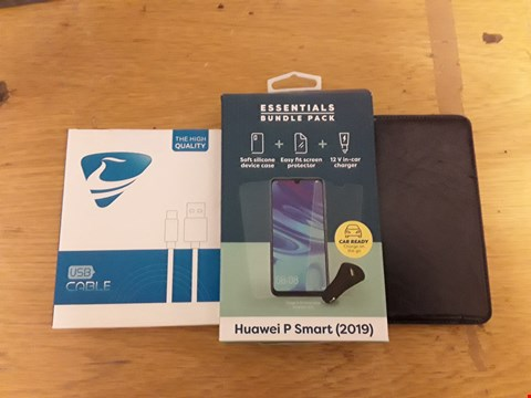 Lot 6149 BOX OF APPROXIMATELY 16 ASSORTED ITEMS TO INCLUDE HIGH QUALITY USB CABLE, HUAWEI P SMART ESSENTIALS BUNDLE PACK, A NAVY FAUX LEATHER PHONE CASE ETC