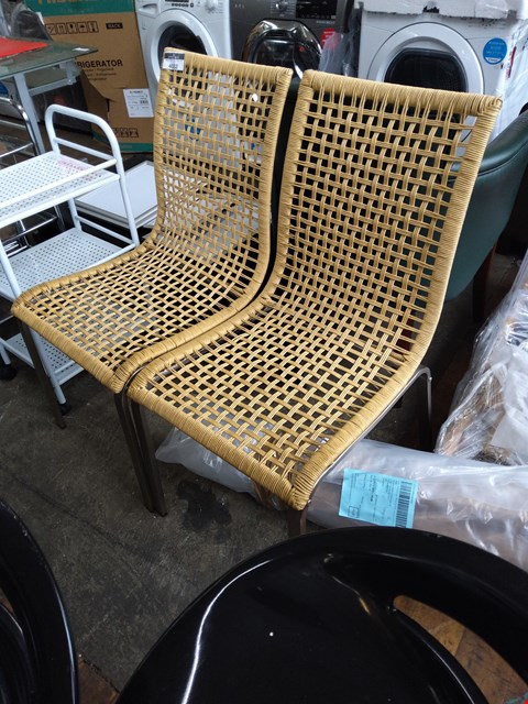 Lot 4023 2 DESIGNER RATTAN EFFECT DINING CHAIRS