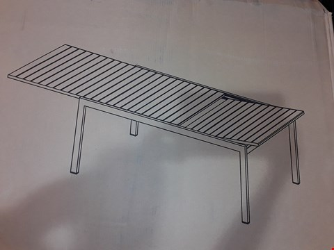 Lot 301 BOXED MORLAIX ALUMINIUM TABLE WITH WOOD EFFECT TOP