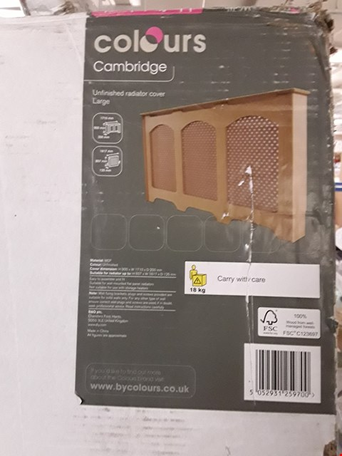 Lot 3200 COLOURS CAMBRIDGE OAK VANEER RADIATOR COVER - WHITE H900 X W1710 X D200 MM