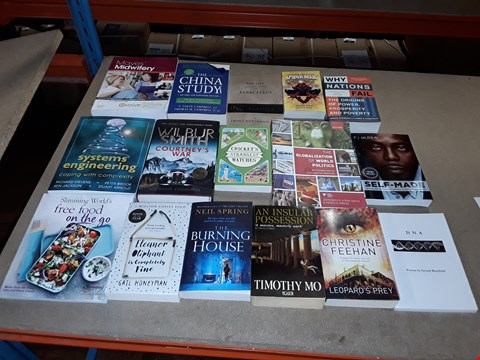 Lot 8192 CAGE OF A LARGE QUANTITY OF ASSORTED BOOKS TO INCLUDE ELEANOR OLIPHANT IS COMPLETELY FINE BY GAIL HONEYMAN, THE BURNING HOUSE BY NEIL SPRING, AN INSULAR POSSESSION ETC
