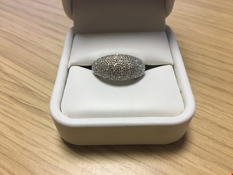 Lot 22 DESIGNER 9CT WHITE GOLD DIAMOND SET DOME RING
