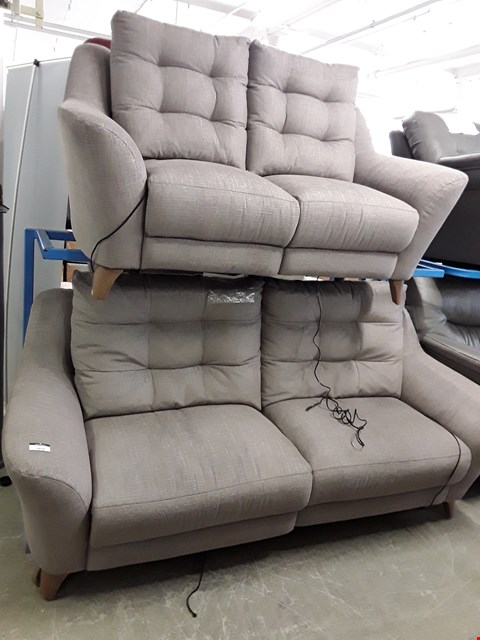 Lot 1014 QUALITY BRITISH MADE, HARDWOOD FRAMED TAUPE FABRIC POWER RECLINING 3 AND 2 SEATER SOFA