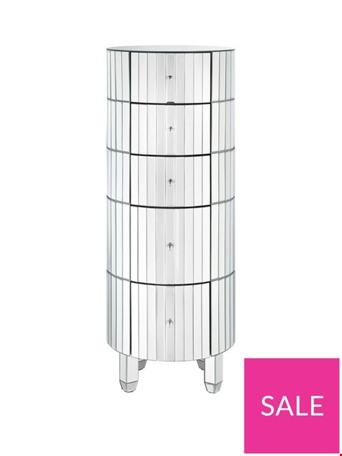 Lot 11059 BOXED PHOEBE ROUND MIRRORED 5 DRAWER CHEST (1 BOX) RRP £289.00