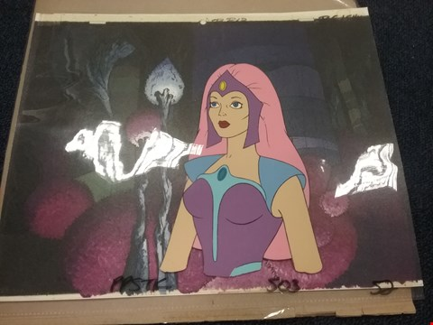 Lot 8 SHE-RA PRINCESS OF POWER ANIMATION GLIMMER CEL WITH PRINTED BACKGROUND - PPSTK 503 52