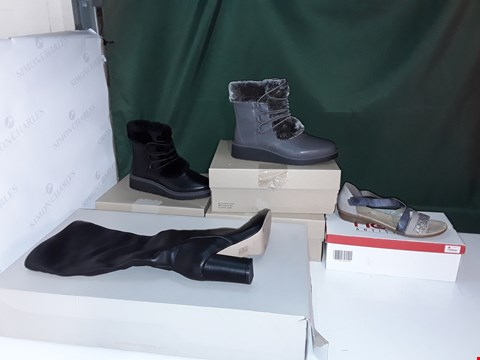 Lot 1083 LOT OF 5 ASSORTED PAIRS OF WOMENS SHOES TO INCLUDE CLARKS BOOTS, RIEKER, MARC FISHER