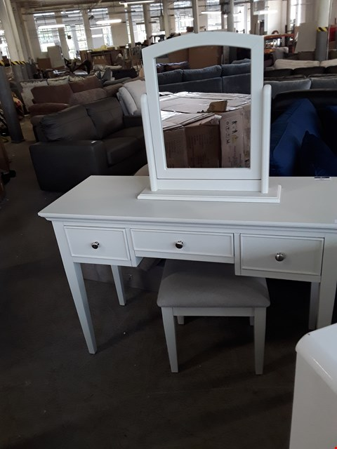 Lot 327 DESIGNER PUTTY FINISH 3 DRAWER DRESSING TABLE, STOOL AND MIRROR