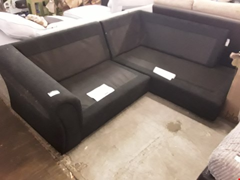 Lot 379 DESIGNER BLACK FABRIC CHAISE CORNER SOFA FRAME ( NO CUSHIONS)