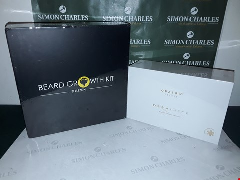 Lot 70 LOT LF 2 ASSORTED COSMETIC ITEMS TO INCLUDE BELLEZON BEARD GROWTH KIT AND OPATRA DERMINECK KIT