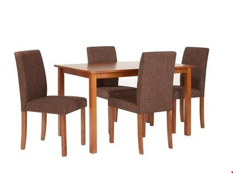 Lot 101 BOXED DESIGNER PRIMO WALNUT-EFFECT DINING TABLE AND SIX CHAIRS (3 BOXES) RRP £249